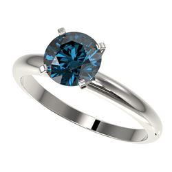 1.55 ctw Certified Intense Blue Diamond Engagment Ring 10k White Gold - REF-147Y3X