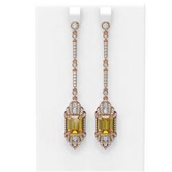 10.93 ctw Canary Citrine & Diamond Earrings 18K Rose Gold - REF-354H5R