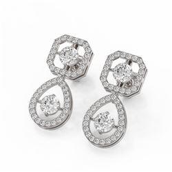 2 ctw Diamond Designer Earrings 18K White Gold - REF-202G8W