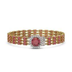 28.56 ctw Tourmaline & Diamond Bracelet 14K Yellow Gold - REF-414M2G