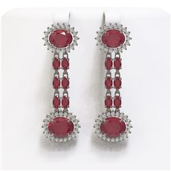 13.28 ctw Ruby & Diamond Earrings 14K White Gold - REF-236H4R