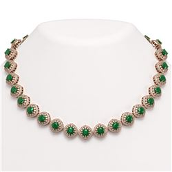 82.17 ctw Emerald & Diamond Victorian Necklace 14K Rose Gold - REF-1800K2Y
