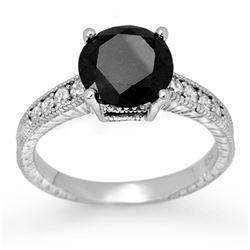 3.0 ctw VS Certified Black & White Diamond Solitaire Ring 18k White Gold - REF-112Y8X