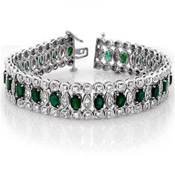 14.50 ctw Emerald & Diamond Bracelet 14k White Gold - REF-427Y3X
