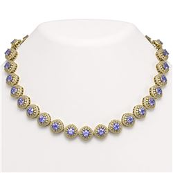 83.82 ctw Tanzanite & Diamond Victorian Necklace 14K Yellow Gold - REF-2511K8Y