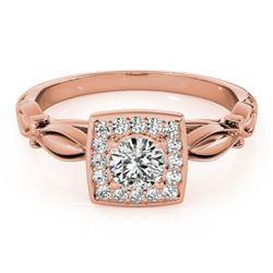 0.55 ctw Certified VS/SI Diamond Halo Ring 18k Rose Gold - REF-66Y3X
