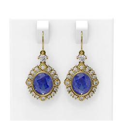 9.6 ctw Tanzanite & Diamond Earrings 18K Yellow Gold - REF-318Y2X