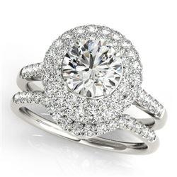 1.77 ctw Certified VS/SI Diamond 2pc Wedding Set Halo 14k White Gold - REF-181N2F