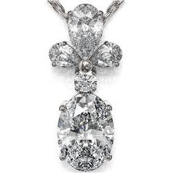 1.4 ctw Oval Cut Diamond Designer Necklace 18K White Gold - REF-181H2R