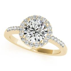1.01 ctw Certified VS/SI Diamond Halo Ring 18k Yellow Gold - REF-154X2A