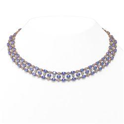 35.93 ctw Tanzanite & Diamond Necklace 10K Rose Gold - REF-527A3N