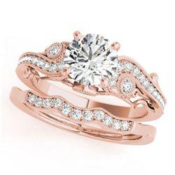 1.32 ctw Certified VS/SI Diamond 2pc Wedding Set Antique 14k Rose Gold - REF-320H5R