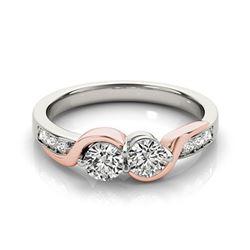 1.25 ctw Certified VS/SI Diamond 2 Stone Ring 18k 2Tone Gold - REF-162G8W
