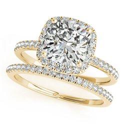0.93 ctw Certified VS/SI Cushion Diamond 2pc Set Halo 14k Yellow Gold - REF-107W2H