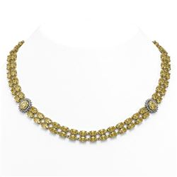 53.35 ctw Citrine & Diamond Necklace 14K Yellow Gold - REF-581R8K