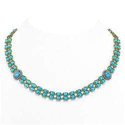 64.99 ctw Swiss Topaz & Diamond Necklace 14K Yellow Gold - REF-581W8H