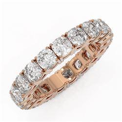 4.94 ctw Cushion Cut Diamond Eternity Ring 18K Rose Gold - REF-658N8F