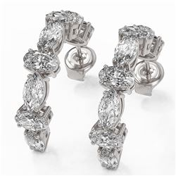 4.16 ctw Oval Cut Diamond Designer Earrings 18K White Gold - REF-451W3H