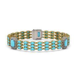 20.55 ctw Turquoise & Diamond Bracelet 14K Yellow Gold - REF-285N3F
