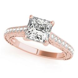 0.8 ctw Certified VS/SI Princess Diamond Ring 18k Rose Gold - REF-100F8M