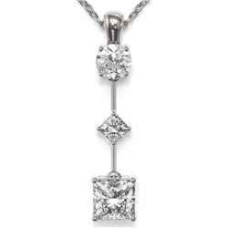 1.16 ctw Princess Cut Diamond Necklace 18K White Gold - REF-163H3R