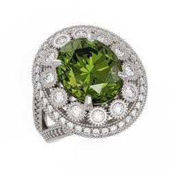 7.66 ctw Certified Tourmaline & Diamond Victorian Ring 14K White Gold - REF-215Y3X