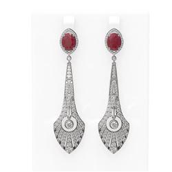 9.69 ctw Ruby & Diamond Earrings 18K White Gold - REF-485N5F
