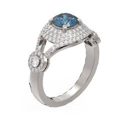 2.18 ctw Intense Blue Diamond Ring 18K White Gold - REF-286N2F