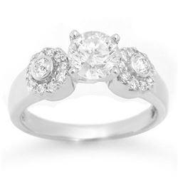 1.38 ctw Certified VS/SI Diamond Ring 18k White Gold - REF-363M8G