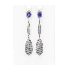 6.68 ctw Sapphire & Diamond Earrings 18K White Gold - REF-342K2Y