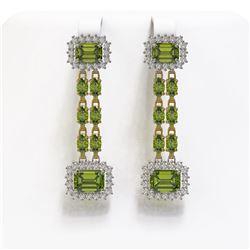 11.38 ctw Tourmaline & Diamond Earrings 14K Yellow Gold - REF-232A2N