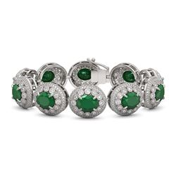 49.17 ctw Emerald & Diamond Victorian Bracelet 14K White Gold - REF-1404G4W