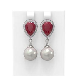 8.03 ctw Ruby & Diamond Earrings 18K White Gold - REF-254A5N