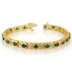 4.09 ctw Emerald & Diamond Bracelet 10k Yellow Gold - REF-94F5M