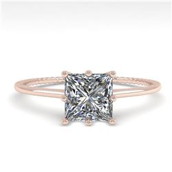 1.0 ctw VS/SI Princess Diamond Engagment Ring 18k Rose Gold - REF-287R4K