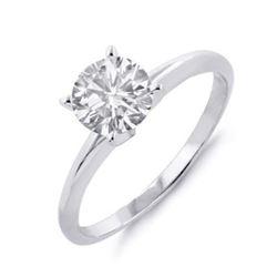 1.0 ctw Certified VS/SI Diamond Solitaire Ring 14k White Gold - REF-394F3M