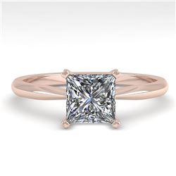 1 ctw Princess Cut VS/SI Diamond Engagment Ring 14k Rose Gold - REF-243M2G