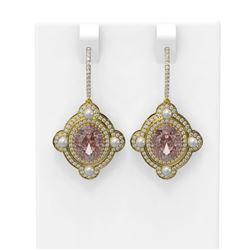 9.45 ctw Morganite & Diamond Earrings 18K Yellow Gold - REF-436M4G