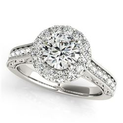 1.4 ctw Certified VS/SI Diamond Halo Ring 18k White Gold - REF-184X3A