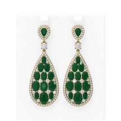 27.47 ctw Emerald & Diamond Earrings 18K Yellow Gold - REF-700M2G
