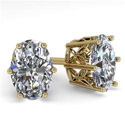 1.0 ctw VS/SI Oval Diamond Stud Earrings 18k Yellow Gold - REF-147R2K
