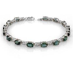 11.0 ctw Blue Sapphire Bracelet 18k White Gold - REF-107W3H