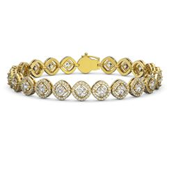 9.94 ctw Cushion Cut Diamond Micro Pave Bracelet 18K Yellow Gold - REF-865Y9X
