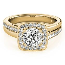 0.85 ctw Certified VS/SI Diamond Halo Ring 18k Yellow Gold - REF-118W6H