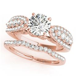 1.71 ctw Certified VS/SI Diamond 2pc Wedding Set 14k Rose Gold - REF-186M3G