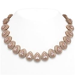 103.22 ctw Morganite & Diamond Victorian Necklace 14K Rose Gold - REF-4551A3N