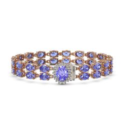 28.22 ctw Tanzanite & Diamond Bracelet 14K Rose Gold - REF-400Y2X