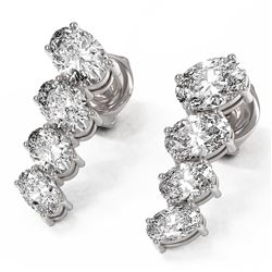 3.72 ctw Oval Diamond Earrings 18K White Gold - REF-577X4A