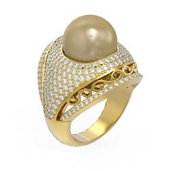 2.5 ctw Diamond & Pearl Ring 18K Yellow Gold - REF-270Y4X