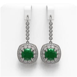 12.9 ctw Certified Emerald & Diamond Victorian Earrings 14K White Gold - REF-266Y9X